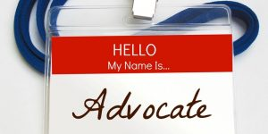 """""""Hello, my name is Advocate"""" name tag"""