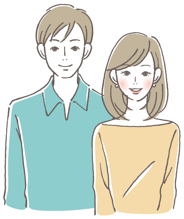 Illustration of a man and a woman smiling and standing together