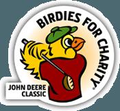 A bird swinging a golf club